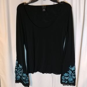 INC Black Blouse w/ Embroidered Flared Sleeves (L)